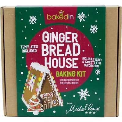 BakedIn - Gingerbread House Baking Kit - Includes Templates, Icing & Sweets