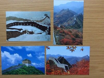 4 x Great Wall of China Postcards - Badaling - unused with folder