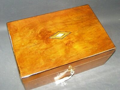 Antique Document Box Working Lock & Key 1870 Tunbridge& Mother Of Pearl Center