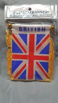 British 4 x 6 Mini Banner Flag with Brass Staff and Suction Cup Brand New