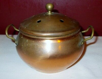 Vintage COPPER with BRASS HANDLES POTPOURRI BOWL with LID Incense ^