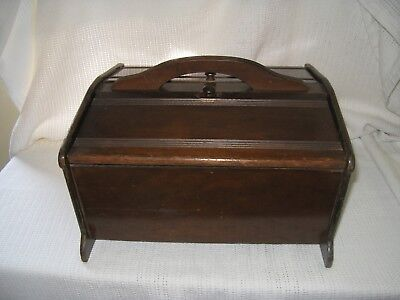 Vintage Butler Wood Double Lid Sewing Box Style 150 With Sewing Notions