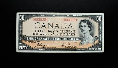 1954 BANK OF CANADA $50 Dollars Devil's Face *Coyne & Towers* A/H Prefix BC-34a