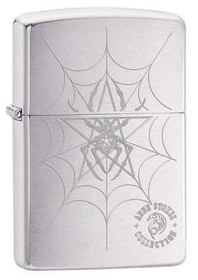 Zippo Lighter: Anne Stokes Spider and Web - Brushed Chrome 79587