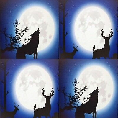 Moonlight Stag or Wolf Light Up LED Animal Canvas Wall Hanging 40 x 30