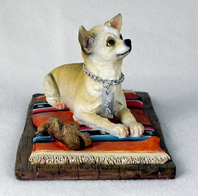 CHIHUAHUA TAN WHITE  MY DOG Figurine Statue Pet Lovers Gift Hand Painted
