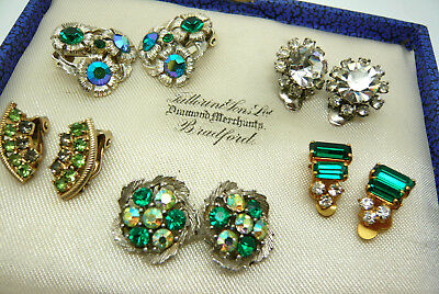 Vintage Jewellery Mixed Lot Of Green Clear Rhinestone Clip On Earrings Various