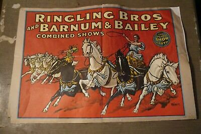 """antique Ringling Brothers Barnum Bailey 16x24"""" gladiaters Circus Poster damaged"""