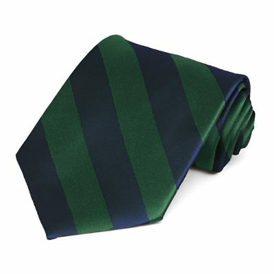 Hunter Green and Navy Blue Striped Tie
