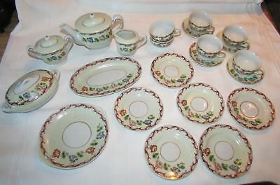 PLAY CHILD's VINTAGE  PLAY  TEA SET   PORCELAIN DISHES   25 Pcs.