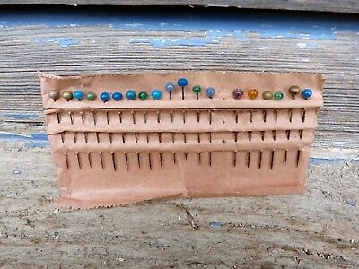 Antique 1890/1900s French glass paste head pins for bobbin lace set of 19 pieces