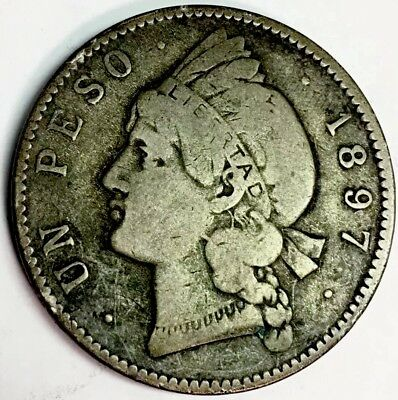 1897 UN PESO-SILVER COIN - DOMINICAN REPUBLIC- 35% SILVER - 1.4 Million Mintage