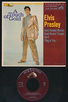 "Elvis Presley 1959 "" A TOUCH OF GOLD "" EP WITH NEAR MINT MAROON LABEL RECORD!"