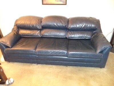 Hancock Moore Navy Blue Leather 86 Austin Style Sofa Nice