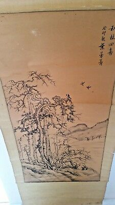 OLD Antique CHINESE SCROLL PAINTING Landscape signed NO RESERVE
