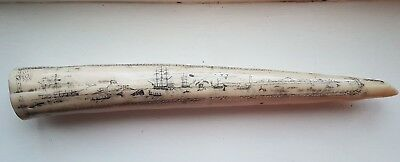 Faux Scrimshaw Walrus Tooth / Tusk Carving
