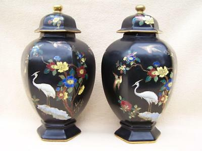 "Pair Of 2 X Carlton Ware Cloisonne "" Bird On Bough "" Art Deco Ginger Jars"
