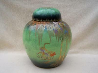 "Carlton Ware Green "" New Stork "" Art Deco Large Size Ginger Jar"