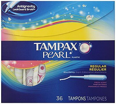6 Pack - Tampax Pearl Plastic Fresh Scent Tampons, Regular Absorbency, 36 Each