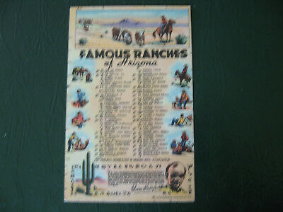 Famous Ranches of AZ and Brands~Linen~Horses~Cowboys~Cattle~U1948~Fairbank, Ariz