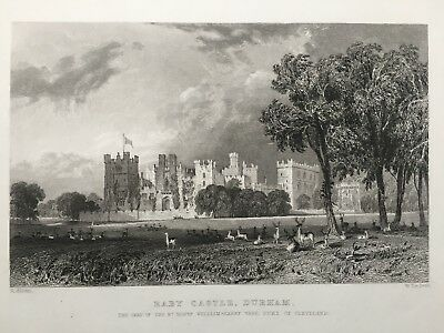 1835 Antique Print; Raby Castle, near Staindrop, Durham after Allom
