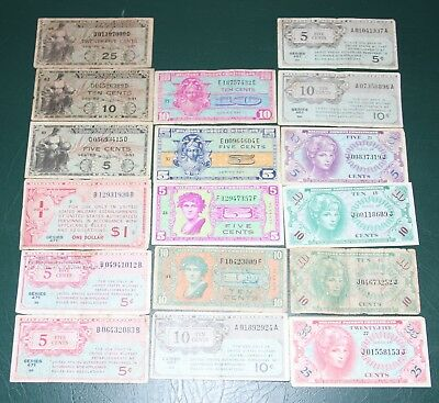 USA MPC  Currency Lot x 17 Notes Military Payment Certificates