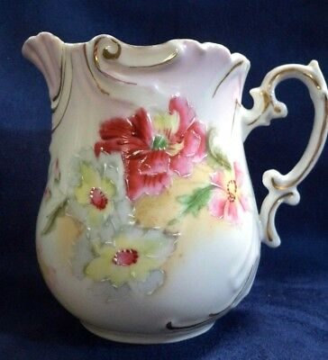 ANTIQUE PORCELAIN CREAMER European Hand Painted FLOWERS PINK GOLD Trim
