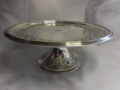 Tiffany Sterling Silver Tazza Cake Plate Floral Decoration W/ Ivy Leaf & Berry