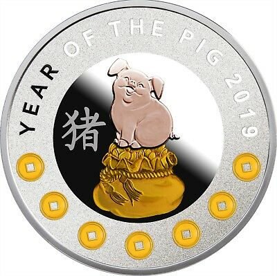 2019  Lunar Year Of The Pig 7 Elements Pure Silver Coin Niue