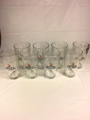 8 Angry Orchard Hard Cider Molded 3D Tree 16 oz Pint Glass Set Of Eight Lot Bar