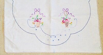 Antique hand-embroidered table or dresser cover