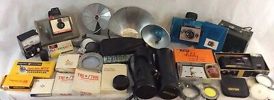 Huge VTG Estate Lot POLAROID Land CAMERA Canon FLASH Film FILTER Tasco KODAK ++