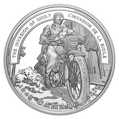 THE INVASION OF SICILY–SECOND WORLD WAR BATTLE– 2018 $20 1 OZ Proof Silver Coin