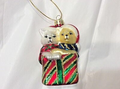 """White and Tabby Kitty Cat Wrapped in a Present Glass Christmas Ornament 4"""""""