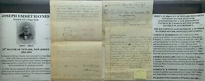 1880s PEQUANNOCK RIVER TYPHOID WATER GOD MAYOR NEWARK NEW JERSEY DOCUMENT SIGNED