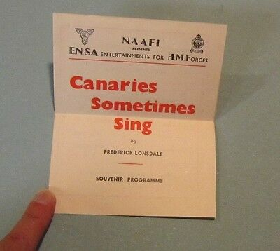 1945 WWII ENSA His Majesty's Forces Canaries Sometimes Sing Program Norma Cappel