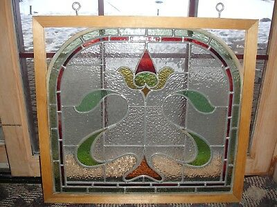 Stained Glass Window Victorian Hanging 25 X 22.5 Old English Single Flower 1890s