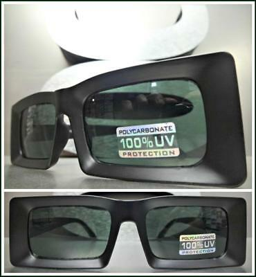 Classic Vintage Retro Style SUN GLASSES Rectangular Matte Black Frame Green Lens