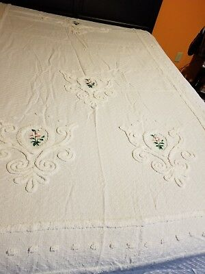 """Vintage Chenille Bedspread White W/Pink Floral Flowers 95 by 103 """"ESTATE FIND"""""""