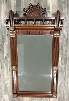 Victorian Eastlake Incised Walnut Hand-Carved Wood Wall Mirror