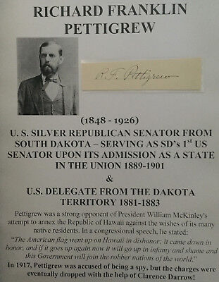 1st SENATOR SOUTH DAKOTA DELEGATE TERRITORY Anti HAWAII WWI SPY AUTOGRAPH SIGNED