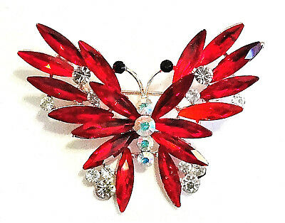 Starburst BUTTERFLY AB Rhinestone Crystal RED Brooch Retro Vintage Style Pin