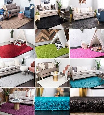 Fluffy Modern Thick Modern 5cm High Pile Plain Soft Non-shed Shaggy Area Rugs