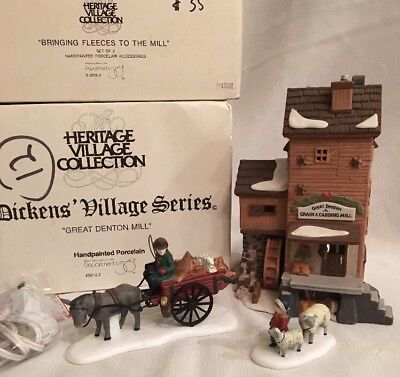 Lot Of 2 Dept 56 Dickens Village GREAT DENTON MILL + BRINGING FLEECES TO THE MIL