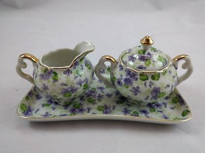 Vintage Lefton China Violet Chintz gold trim 3 piece set NE 2044V pattern