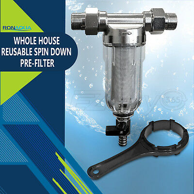 Reusable Whole House Spin Down Pre-Filter to Remove Sediment, Rust, Sand