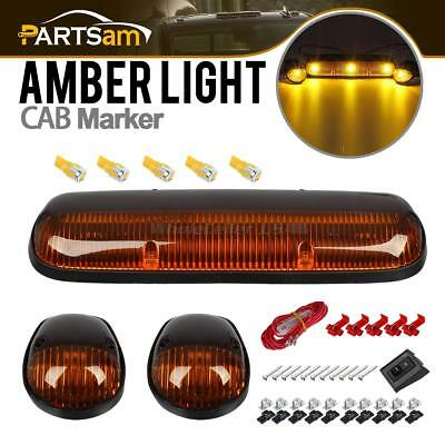 3xAmber Cab Top Marker Lights+5xT10 5730 Amber LED w/ Wire for Chevy GMC