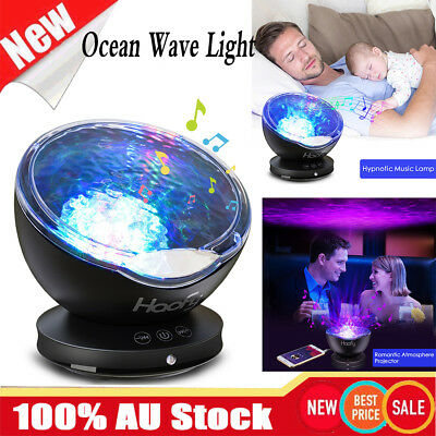 LED Ocean Waves Projector Night Light Projection Lamp Calming Music W/ Remote