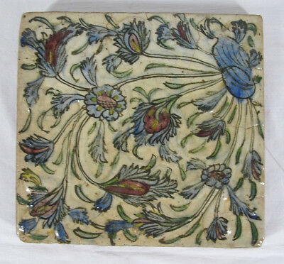 Antique 19th C Persian Hand Painted Pottery Art Tile Blue Flowers 9.75x9.25 yqz