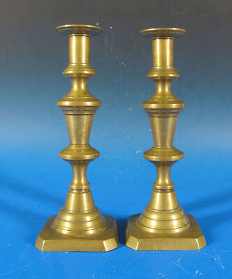 Antique Pair Mid 19th C Solid Brass Push Up Candlesticks Candle Holders #4 yqz